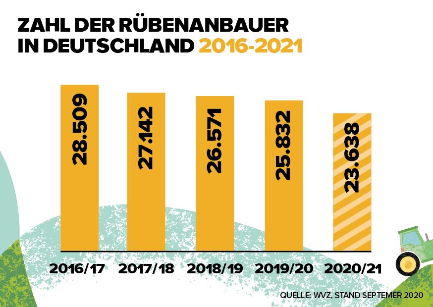 Grafik Anbauerentwicklung Zuckerrüben